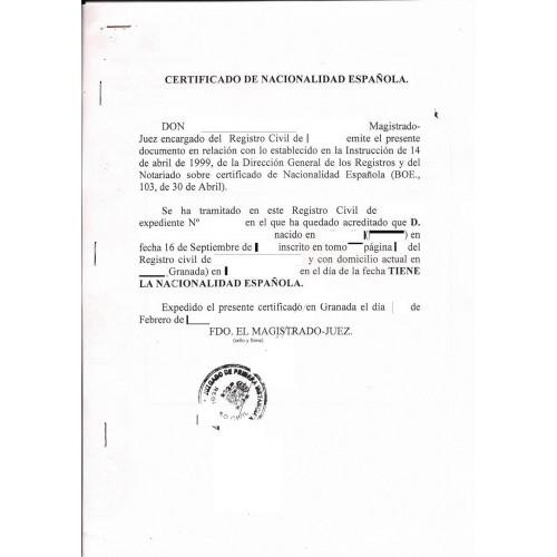 Certificado de nacionalidad