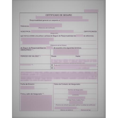 Certificado de seguro de vida y hogar