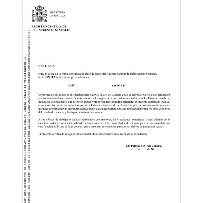 Certificado de delitos de naturaleza sexual