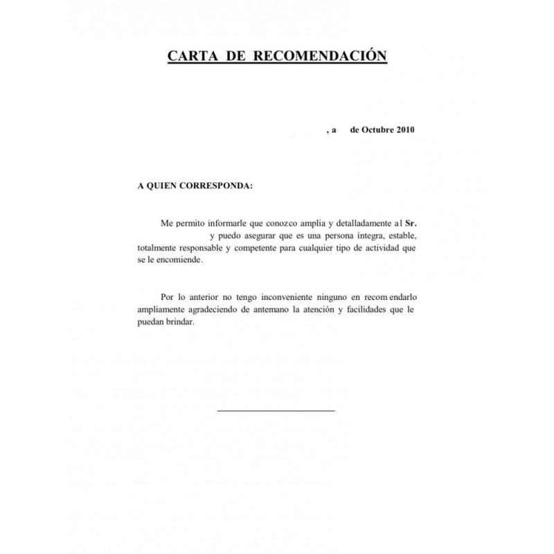 Carta de motivación o recomendación